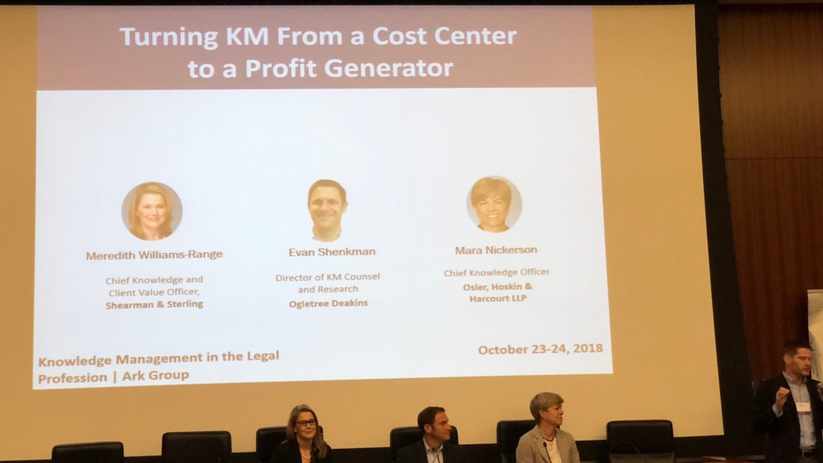 Knowledge Management – From Cost Center to Profit Generator (Live #ArkKM)
